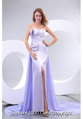 Sweetheart Court Train High Slit Prom Dresses with Beading