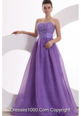 Princes Purple Sweetheart Organza Prom Gown Dress with Beading