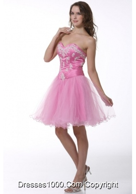 Princess Sweetheart Baby Pink Appliques Knee-length Prom Cocktail Dress