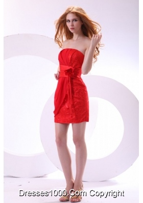 Hot Column Red Strapless Mini-length Cocktail Dress On Sale