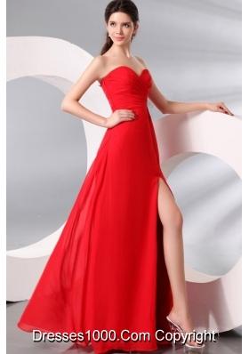 2014 Full Length High-slit Sweetheart Red Chiffon Formal Prom Dress