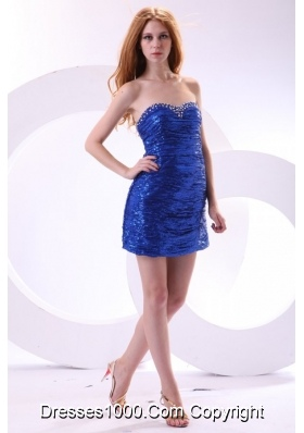 Hot Seller Mini-length Sheath Sweetheart Royal Blue Sequin Prom Dress
