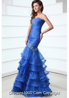 Royal Blue Layered Mermaid Sweetheart Ruched Prom Gown with Beading