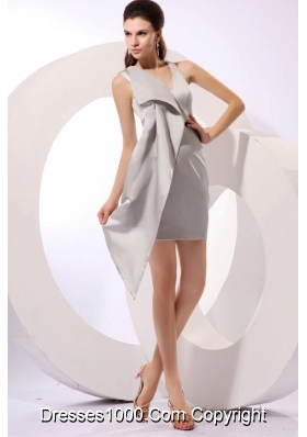 V-neck Black Belt Mini Length Satin Trendy Prom Dress in Grey
