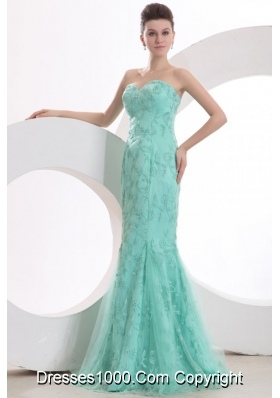 Elegant Mermaid Sweetheart Aqua Blue Embroidery Prom Gown Dress