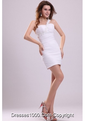 One Shoulder Mini-length Sheath Ruched White Prom Cocktail Dress
