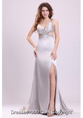 Silver V-neck Criss-cross Straps High Slit Cut-out Prom Dress