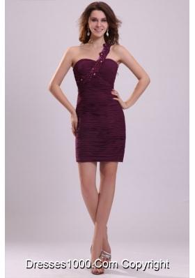 Applique One Shoulder Ruched Purple Short Prom Dama Dress
