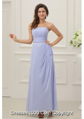 Strapless Empire Chiffon Ankle-length Prom Maxi Dress with Ruches