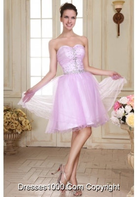Rhinestone Sweetheart Organza Lavender Prom Gown Dresses