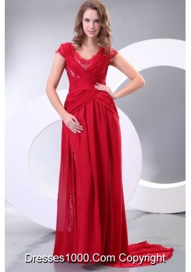 Low Cost V-neck Watteau Train Short Sleeves Red Formal Prom Gown
