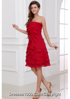 A-line Strapless Empire Red Short Prom Dress with Chiffon Layers