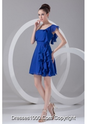 Flounced Single Sleeve Ruffled Blue Prom Graduation Dresses