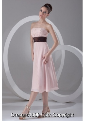 Pink Strapless Tea-length Chiffon Prom Holiday Dress with Belt