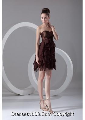 Brown Sweetheart Ruffled Chiffon A-line Prom Evening Dress
