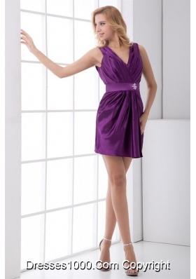 V-neck Ruches Beaded Sash Purple Taffeta New Prom Gowns
