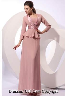 Scoop Neck Full Length Column Prom Formal Dresses in Peach