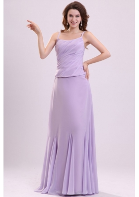 Cheap Straps Ruched Lavender Zipper Up Prom Party Dresses