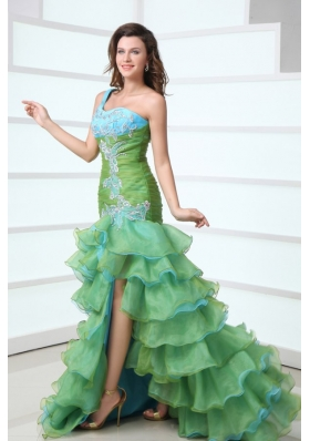 Ruffled Layers One Shoulder Prom Party Dress with Long Back