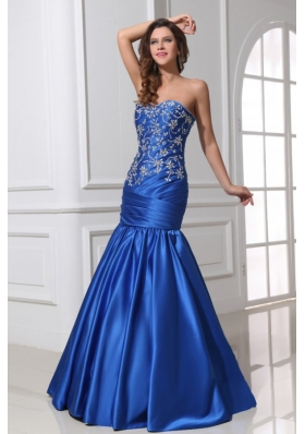 Mermaid Sweetheart Ruche Applique Blue Prom Cocktail Dress