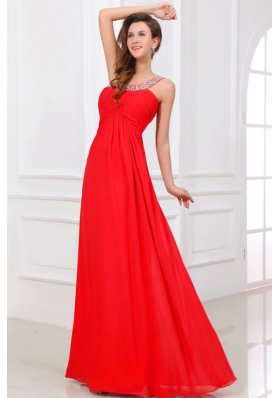 Chiffon One Shoulder Beads Backless Red Prom Holiday Dress