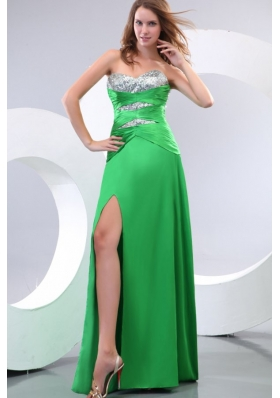 Sexy High Slit Sequined Bust Green Chiffon Long Prom Dress