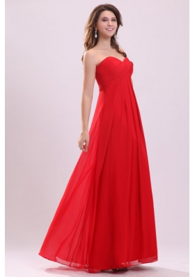 Discount Chiffon Sweetheart Ruches Red Prom Gown Dresses