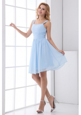 Knee Length Straps Baby Blue Chiffon Empire Chic Prom Gown