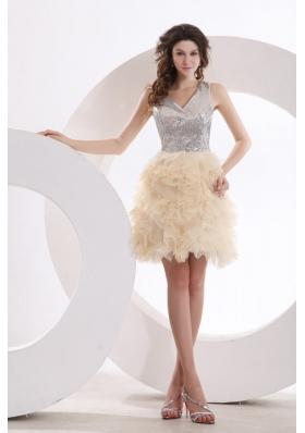 Transparent Back V Neck Sequin Ruffled Dress for Prom Queen
