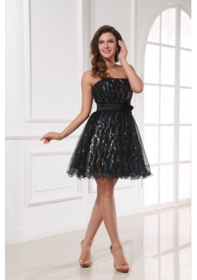 Strapless Colorful Sequin Belt Mini Length Prom Holiday Dress