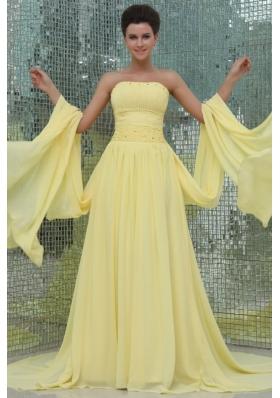 Yellow Strapless Beading Sweep Train Chiffon Prom Dresses