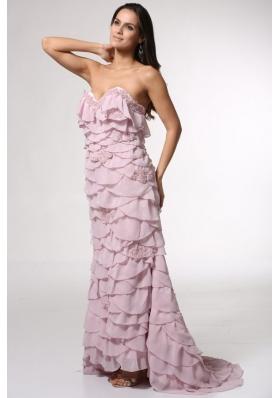 Ruffled Layers Sweetheart Pink Brush Train Prom Dama Dress