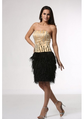 Champagne Beaded Bodice Black Feather Prom Party Dresses