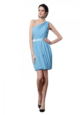Side Zipper One Shoulder Ruched Belt Short Dress for JS Prom