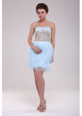 Unique Appliques Feather Light Blue Mini Length Prom Gowns