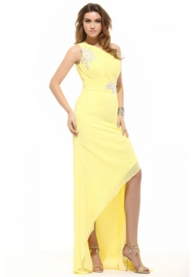 Sassy One Shoulder Appliques Asymmetrical Hem Prom Gown