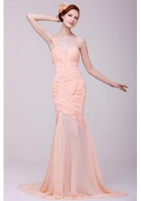 Ruching Sweetheart High Slit Brush Train Peach Prom Attire
