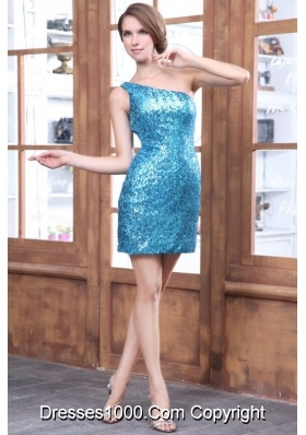 Whole Sequined One Shoulder Mini-length Teal Hot Prom Dress