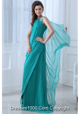 Turquoise One Shoulder Beading Chiffon Prom Celebrity Dress