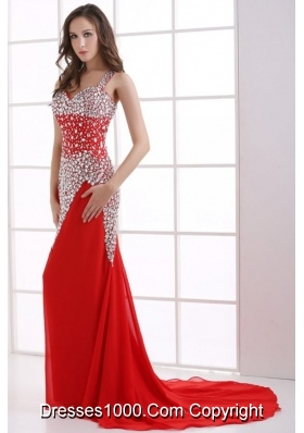 Beaded Straps Red Prom Homecoming Dress with Sweep Train