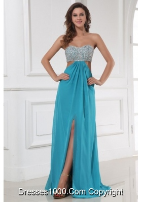 High Slit Beaded Bust Prom Homecoming Dress with Waist Cut