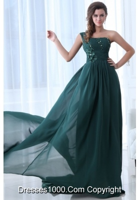 Embroidery Teal Taffeta Brush Train Prom Dress with High Slit - US ...