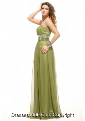 Olive Green Sweetheart Appliques Tulle Long JS Prom Dresses