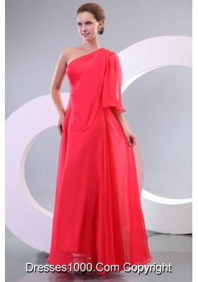 Hot Chiffon One Shoulder Single Sleeve Coral Red Prom Gown