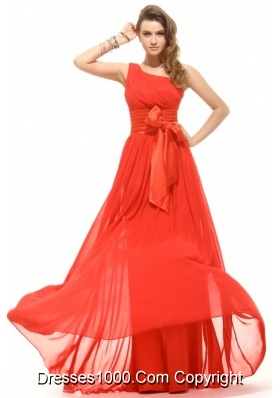 Bowknot Sash One Shoulder Rust Red Prom Pageant Dresses