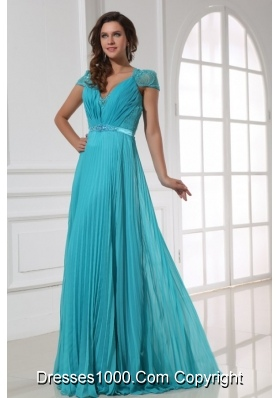 A-line Cap Sleeves Pleating Chiffon Dresses for Prom in Blue