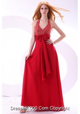 Wine Red Halter Bowknot Beading Chiffon Prom Formal Dress