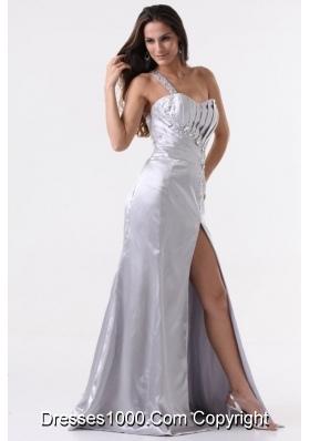 Single Shoulder High Slit Sheath Prom Dress with Sweep Train