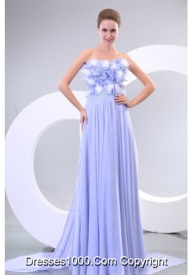 Lavender Strapless Flower Chapel Train Dress for Prom Queen