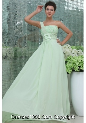 Light Green One Shoulder Flowers Appliques Prom Party Dress